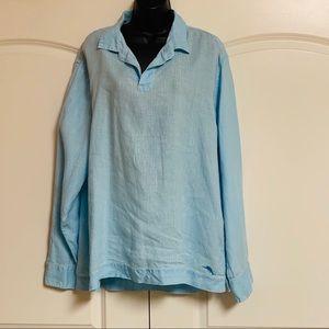 Tommy Bahama Blue Linen V Neck Pullover XL